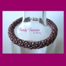 Gray & Red Pearl Crystal Woven Bracelet,Pearls,Crystals,#TrendyTreasuresByRamona