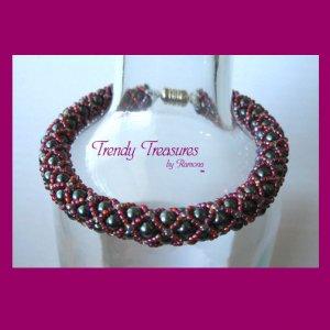 Gray & Red Pearl Crystal Woven Bracelet,Pearls,Crystals,#TrendyTreasuresByRamona