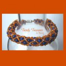Blue & Orange Denver Broncos Woven Bracelet,Pearls,Crystals,#TrendyTreasuresByRamona