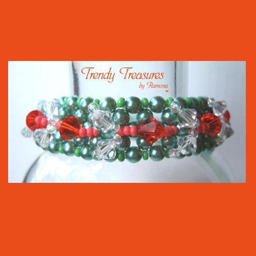 Lime Green Pearls & Orange Crystals Woven Bracelet,Special Price,#TrendyTreasuresByRamona