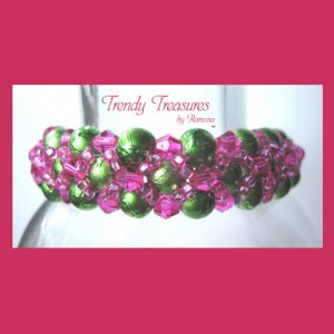 Lime Green Pearls & Hot Pink Crystals Woven Bracelet,Price Reduced,#TrendyTreasuresByRamona