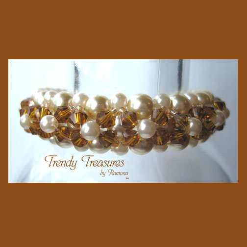 White Pearls & Gold Crystals Woven Bracelet,Special Price,#TrendyTreasuresByRamona