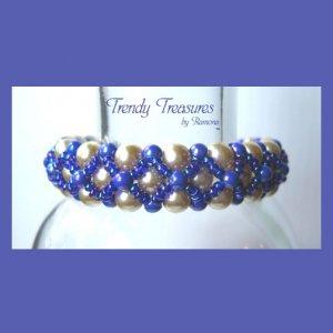 White Pearls & Blue Pearls Woven Bracelet, Special Price,#TrendyTreasuresByRamona
