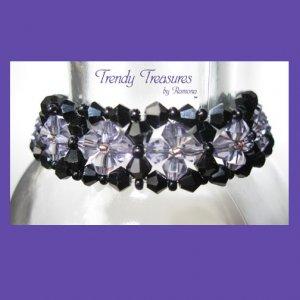 Black & Purple Crystals Woven Bracelet, Special Price,#TrendyTreasuresByRamona