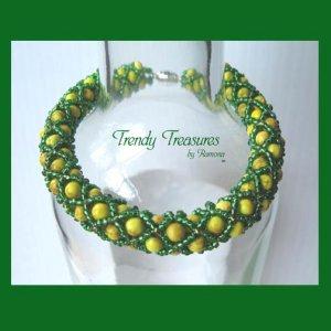 Baylor Bears, Packers Spirit Bracelet,Yellow & Green Woven,#TrendyTreasuresByRamona