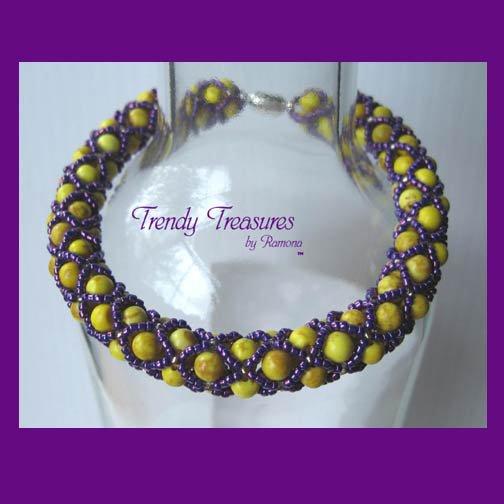 Tiger Roar! Yellow & Purple Spirit Bracelet,LSU,Pearls,Crystals,#TrendyTreasuresByRamona