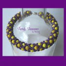 Tiger Roar! Yellow & Purple Spirit Bracelet,LSU,Pearls,Crystals,#TrendyTreasuresByRamona