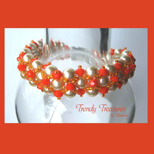White Pearls & Tangerine Tango Crystals Woven Bracelet,Reduced,#TrendyTreasuresByRamona