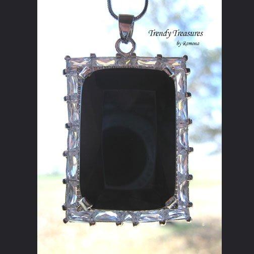 Black Faceted Crystal Pendant,Prom,Sterling Silver Chain,Rhinestones,#TrendyTreasuresByRamona