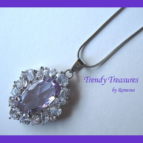 Purple Faceted Crystal Fancy Oval Pendant,Sterling Silver Chain,Rhinestones,#TrendyTreasuresByRamona