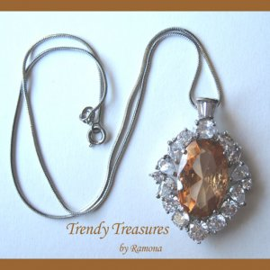 Gold Faceted Crystal Fancy Oval Pendant,Sterling Silver Chain,Rhinestones,#TrendyTreasuresByRamona