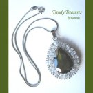 Peridot Faceted Teardrop Crystal Pendant,Sterling Silver Chain,Rhinestones,#TrendyTreasuresByRamona