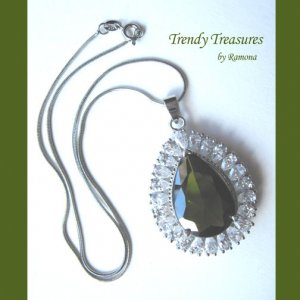 Peridot Faceted Teardrop Crystal Pendant,Sterling Silver Chain,Rhinestones,#TrendyTreasuresByRamona