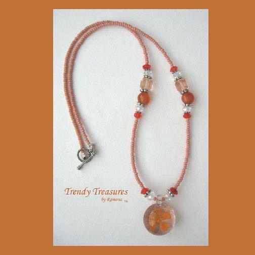 Orange Flower Glass Pendant on Beaded Necklace, Crystals, OOAK.#TrendyTreasuresByRamona