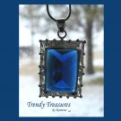 Deep Blue Faceted Crystal Pendant,Prom,Sterling Silver Chain, Rhinestones