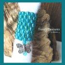 Turquoise Dreadlock Sleeve, Dread Bead, Butterfly Charm Dangle, #TrendyTreasuresByRamona