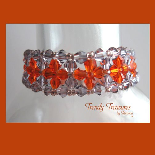 Purple & Orange Crystals Woven Bracelet,Special Price,#TrendyTreasuresByRamona