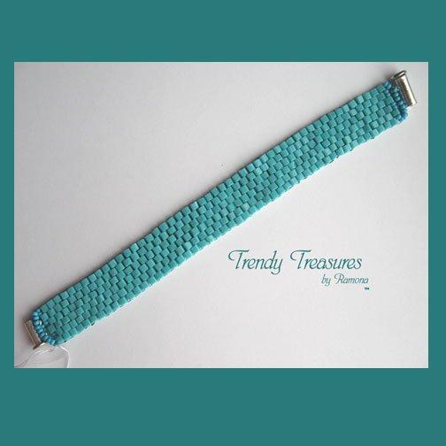 Turquoise Glass Woven Bracelet,Original Design,#TrendyTreasuresByRamona