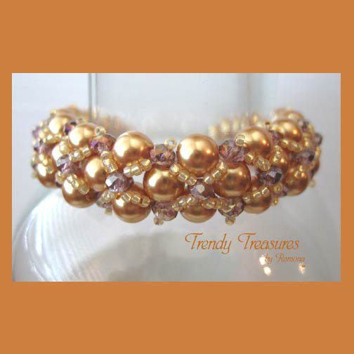 Gold Pearl & Purple Crystal Woven Bracelet,Price Reduced,#TrendyTreasuresByRamona