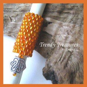 Bright Orange, Dreadlock Sleeve, Dread Bead, Charm Dangle, #TrendyTreasuresByRamona