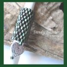 Iridescent Green,Red, Dreadlock Bead, Dread Sleeve, Heart Charm, #TrendyTreasuresByRamona