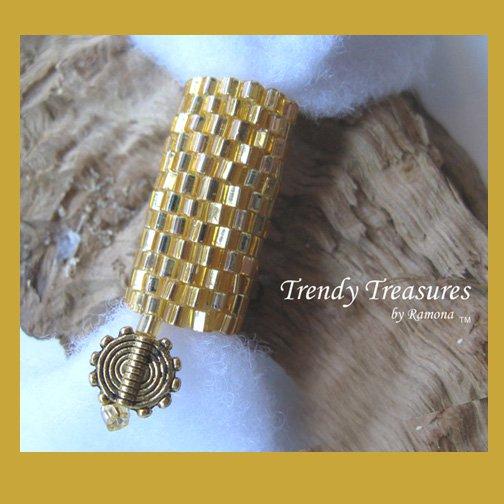 Bright Gold, Dreadlock Bead, Dread Sleeve, Goldtone Charm, #TrendyTreasuresByRamona