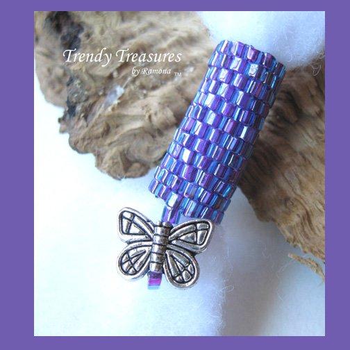 Iridescent Purple, Dreadlock Bead, Dread Sleeve, Butterfly Charm, #TrendyTreasuresByRamona