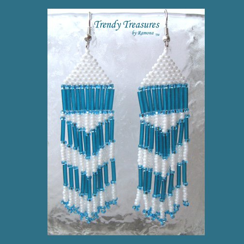 Turquoise,White,Beaded Dangle Earrings,Hand Woven, #TrendyTreasuresByRamona