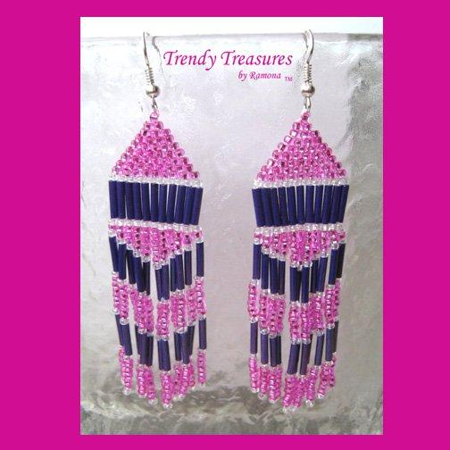 Hot Pink,Purple, Beaded Dangle Earrings,Love Pink, #TrendyTreasuresByRamona