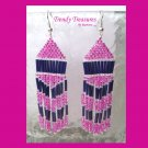 Hot Pink,Purple, Beaded Dangle Earrings,Love Pink, #TrendyTreasuresByRamona