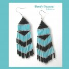 Black, Turquoise, Beaded Dangle Earrings, Hand Woven, #TrendyTreasuresByRamona
