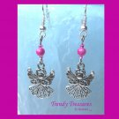 Angel Charm Earrings,Pink Miracle Beads, #TrendyTreasuresByRamona,