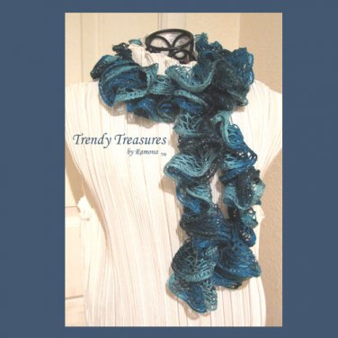 Navy,Blue,Turquoise, Hand-made Ruffled Scarf, #TrendyTreasuresByRamona