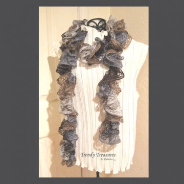 Brown,Silver,Tan, Hand-made Ruffled Scarf, Extra-full,#TrendyTreasuresByRamona