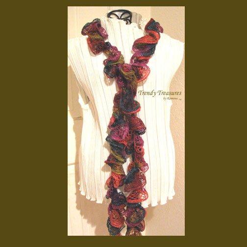 Navy,Olive,Purple,Orange, Hand-made Ruffled Scarf, #TrendyTreasuresByRamona