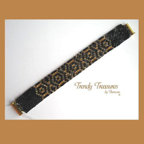 Black and Gold Woven Glass Bracelet, Original Design, #TrendyTreasuresByRamona