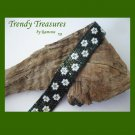 Green Iris Metallic with White Flowers Glass Woven Bracelet,Original Design,#TrendyTreasuresByRamona