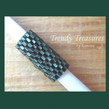 Red-lined Dark Green, Dreadlock Sleeve, Dread Bead, #TrendyTreasuresByRamona