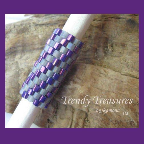 Iridescent Purple Dull Gray Spiral, Dreadlock Sleeve, Dread Bead, #TrendyTreasuresByRamona