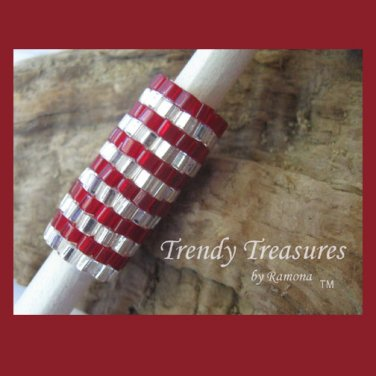 Bright Red,Shiny Silver,Dreadlock Sleeve, Dread Bead, Rings Design, #TrendyTreasuresByRamona