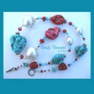 Reduced! Chunky Necklace,Turquoise & Red Color,Giant Pearls & Crystals, Ramona Beasley