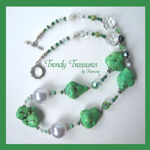 Reduced! Bold Statement Necklace,Green Color,Giant Pearls & Crystals,Artisan Crafted, Ramona Beasley