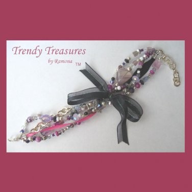 Black & Pink Eclectic, Crystals, Pearls, Chains, Ribbons Bracelets,#TrendyTreasuresByRamona