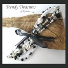 Black & White Eclectic, Crystals, Pearls, Chains, Ribbons Bracelets,#TrendyTreasuresByRamona