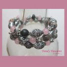 Pink,Black & Silver Coil Bracelet, Memory Wire, Three Loops, #TrendyTreasuresByRamona