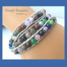 Colorful Variety Gemstone & Hemp Wrap Bracelet, Pop Style, #TrendyTreasuresByRamona