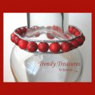 Bright Red Gemstone & Leather-like Wrap Bracelet, Pop Style, #TrendyTreasuresByRamona