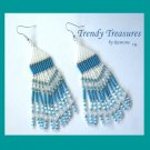 Turquoise,White,Silver Beaded Dangle Earrings,Hand Woven, #TrendyTreasuresByRamona