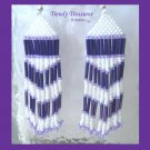 Purple, White, Beaded Dangle Earrings,Love Purple, #TrendyTreasuresByRamona