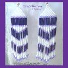 Purple, White, Beaded Dangle Earrings,Love Purple, #TrendyTreasuresByRamona
